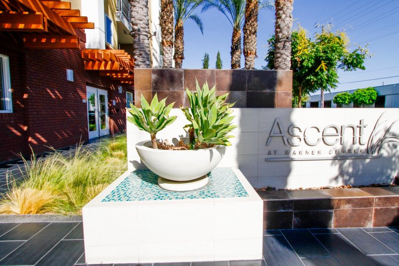 The décor at the entrance of Ascent At Warner Center in CA California