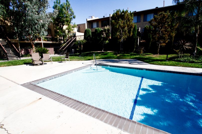 The pool for residents at Royal Topanga Townhomes