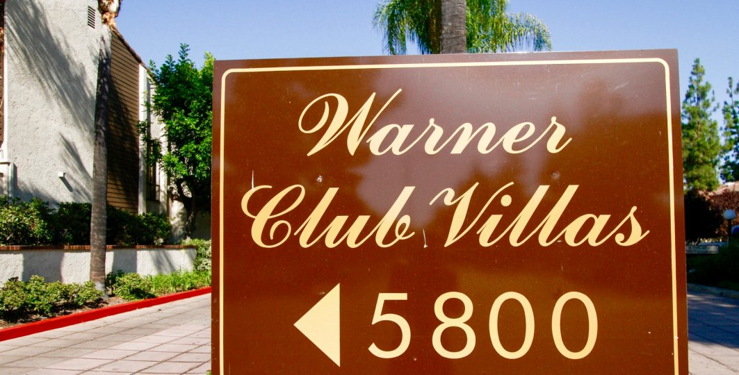 The sign into Warner Club Villas in CA California