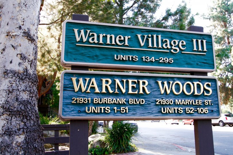 The welcoming sign into Warner Woods in CA California