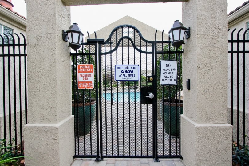 Gate is closed for the way of Swimming pool in California Renaissance