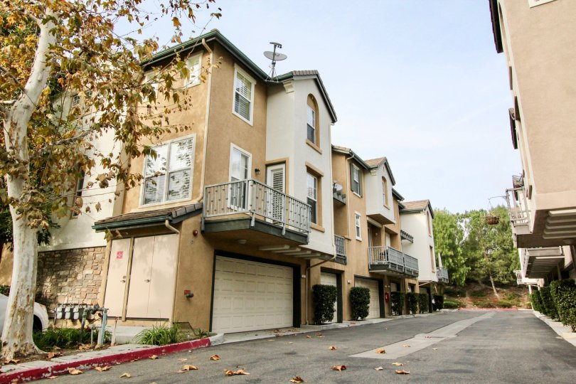 Attached homes with single and double car garages under units with stucco siding and a wide back lane at Camden Park