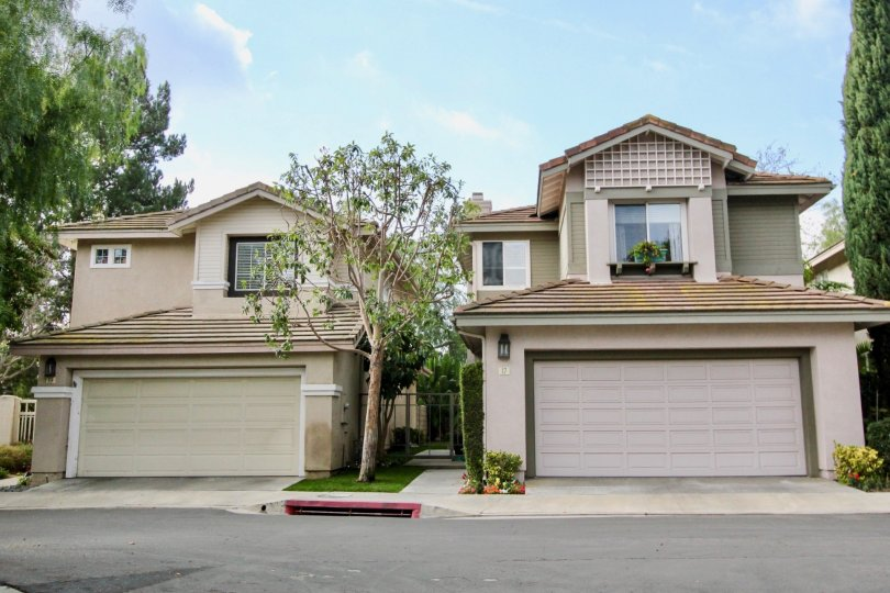 The Cottages neighborhood of Aliso Viajo features two story homes with garages such as these.