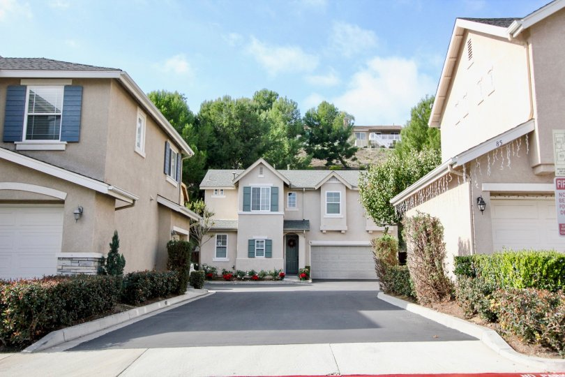 A long and narrow driveway leading through town homes in the Soleil community at Aliso Viejo CA