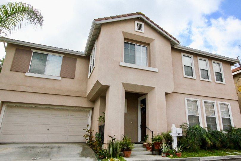 Front view of house in community of Tiburon in Aliso Viejo, California.