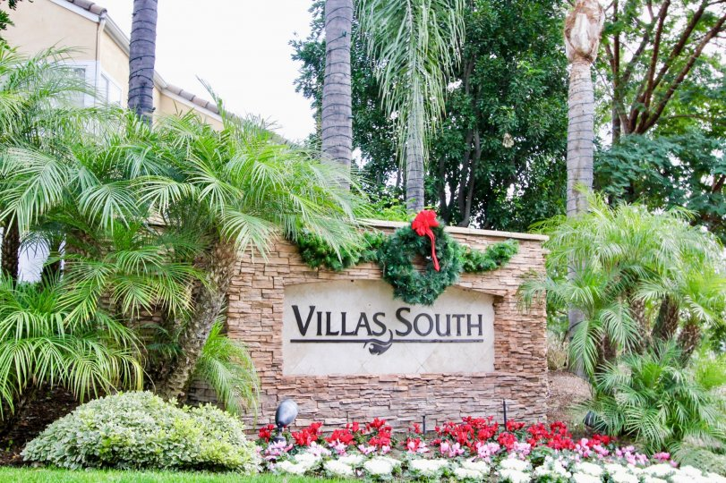 Entrance Signage of Villas South in Aliso Viejo, Calfornia