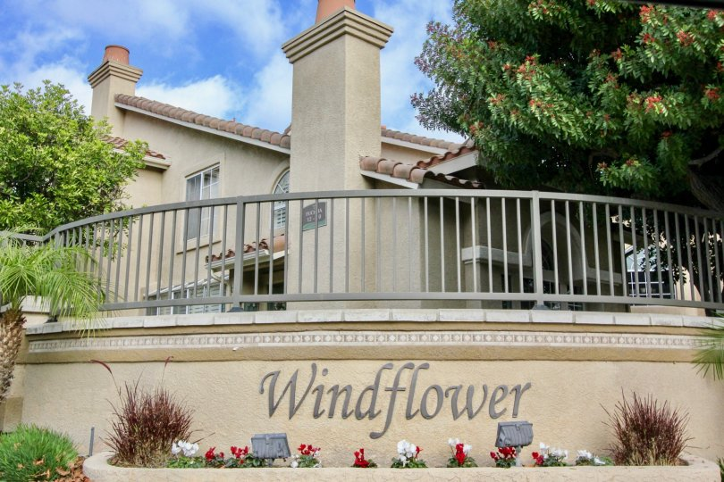 A sunny day at the entrance to Windflower in Aliso Viejo, CA