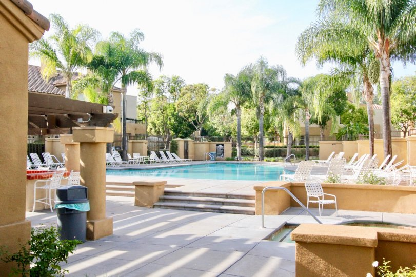 Outdoor beach resort with swimming pool and lawn chairs