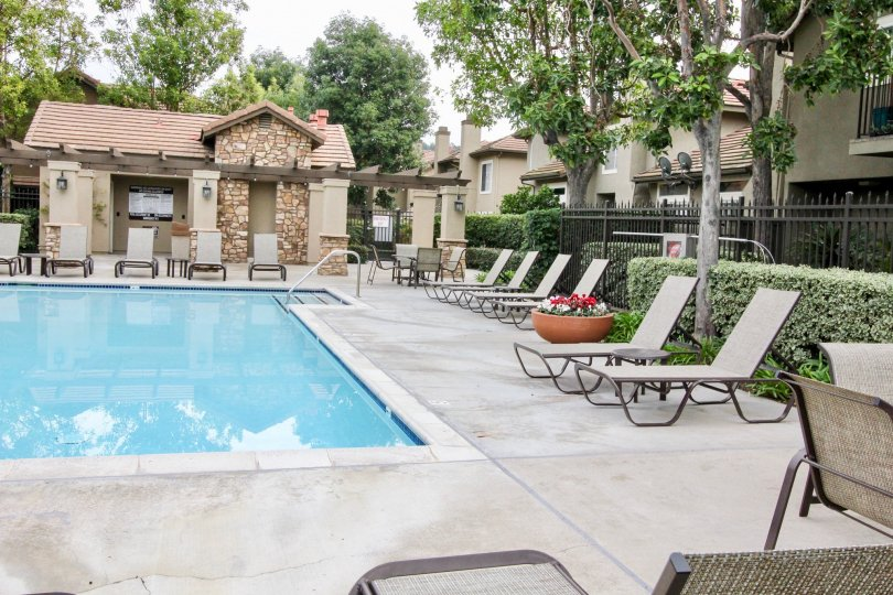 a pleasant day in the Laurelwood at Sycamore Canyon with a park that has swiming pool and furnitures and garden on back side