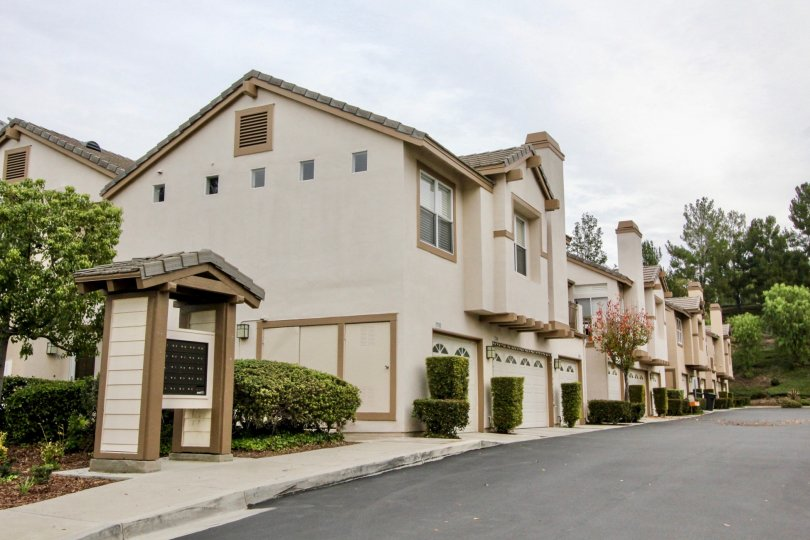 THIS FLATS ARE LOCATED IN THE CITY OF ANAHEIM HILLS WHICH HAS THE ROAD WAY, LOT OF PLANTS, AND THE TREES