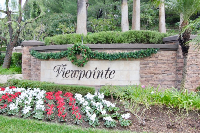 Viewpointe wall with green park at Anaheim Hills City