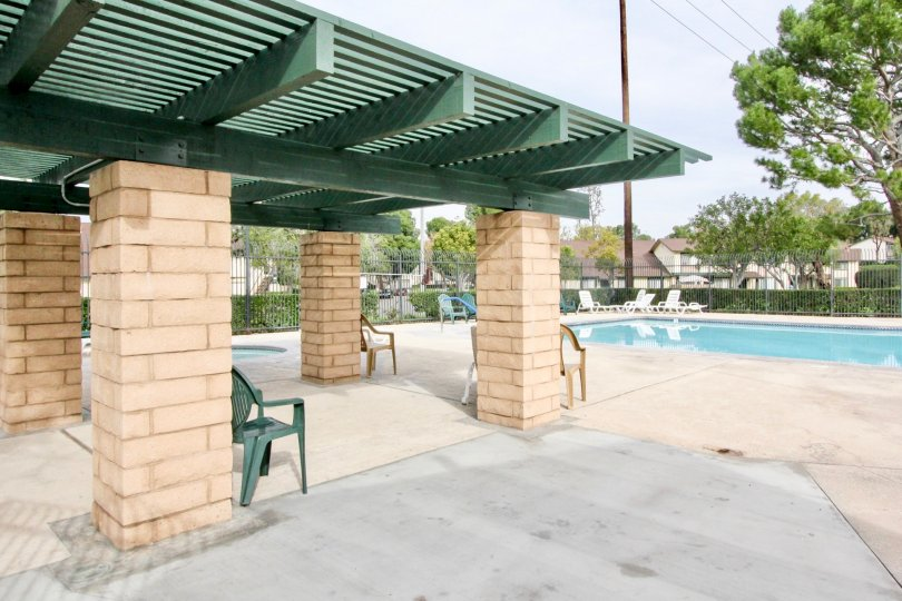 THIS IMAGE REPRESENTS THE SWIMMINGPOOL THAT LOOKS BEAUTIFUL, AND HAVE THE LOT OF CHAIRS, TREES, PLANTS WHICH IS SITUATED IN THE CITY OF ANAHEIM HILLS