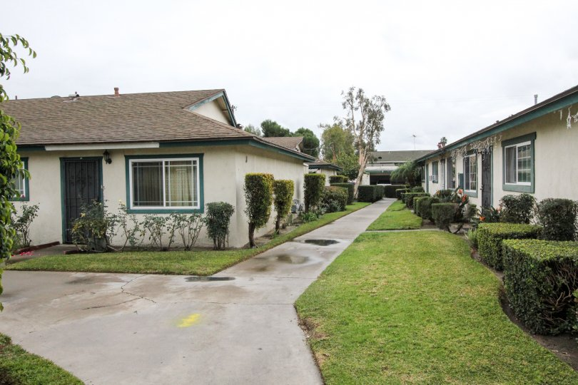 A paved path way leads through a group of houses in Anaheim California.