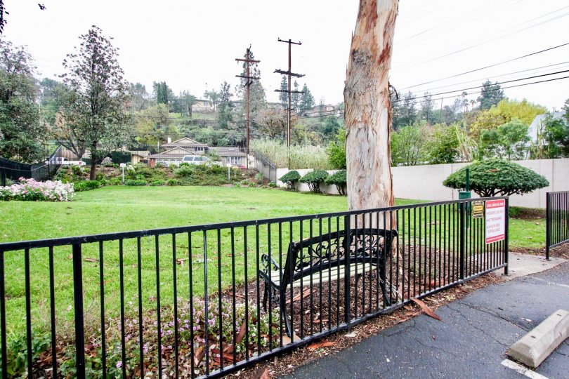 A wide black iron gate with a bench and tree inside Casa Canon in Anaheim CA