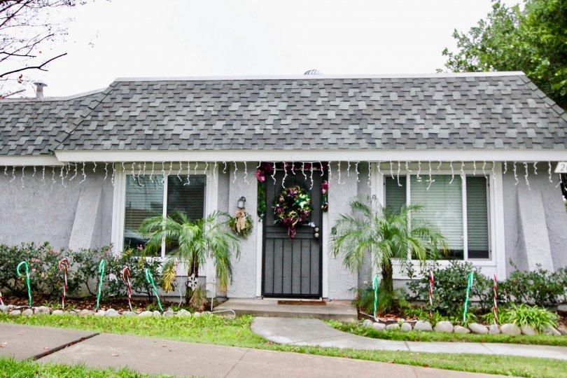 Cute little home manicured lawn inc sunny Casa Canon in Anaheim California.