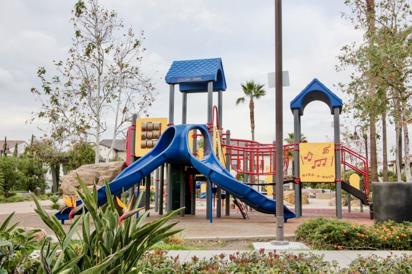 A cloudy day at Colony park with a children's playground
