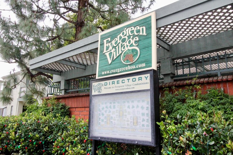 The directory signage at the entrance to the Evergreen Village in Anaheim