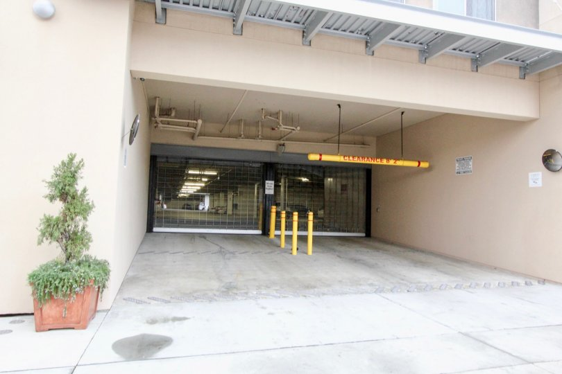 A parking entrance in the Harbor Lofts community on the ground level.