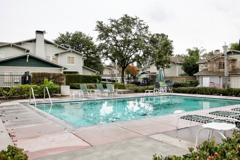 THE SWIMMING POOL WITH CHAIRS, PLANTS, TREES, BACKSIDE HOME IS THERE IN ANAHEIM CITY