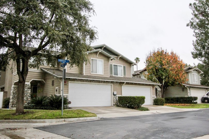 Mature trees surround a townhome community in Anaheim's Heritage Place Cottages