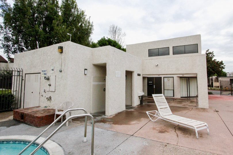 The home in the Heritage Village Townhomes neighborhood of Anaheim, CA with a pool and gated