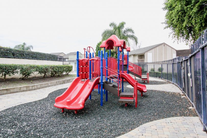 Colorful playground, safely gated, offering a safe, hazard free environment for your children to play. Located in Anaheim, Ca.