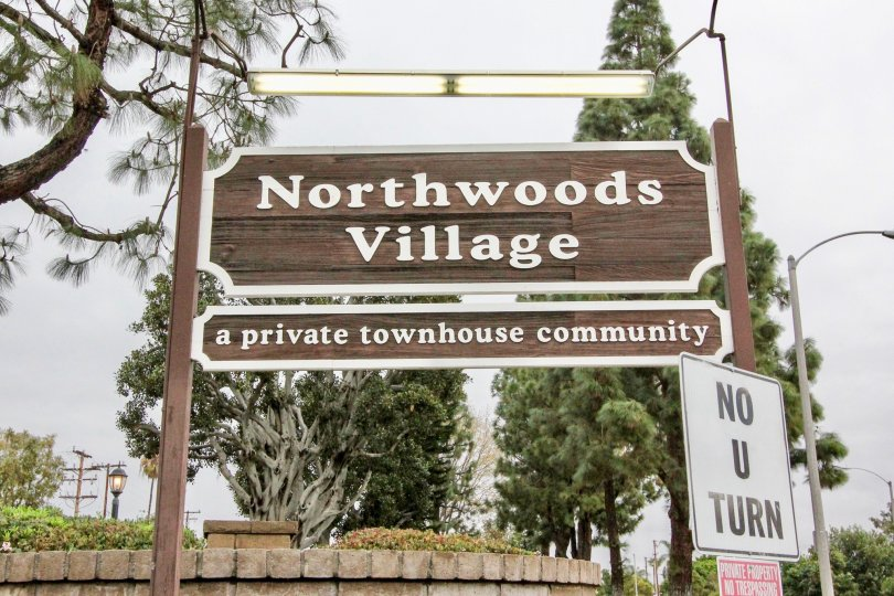 The entrance board at Northwoods village a residential community