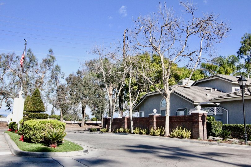 THIS IMAGE SHOWS THE ROADWAY WITH PLANTS AND TREES, FLAG ARE THERE IN ANAHEIM CITY