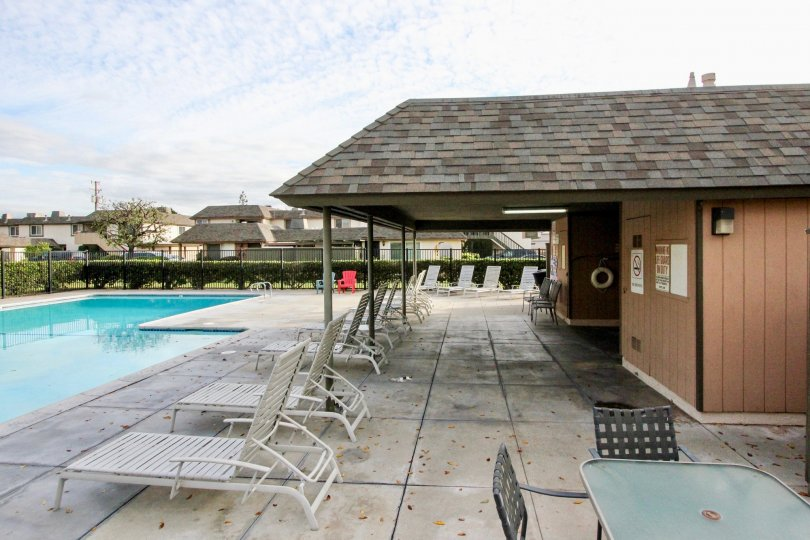Excellent view of swimming pool with sitting in Ridgeway Park East of Anaheim