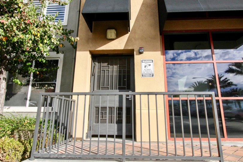 Secure side entrace to the Stadium Lofts residing in Anaheim California.