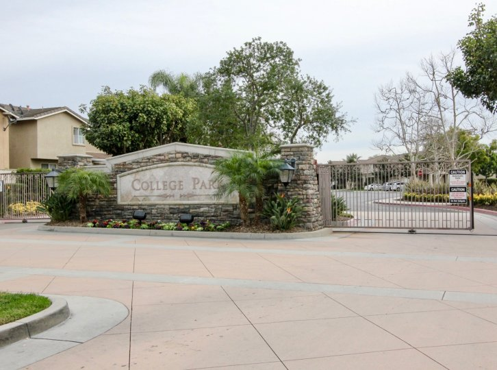 A clear view of the College Park entrance with its sign located at Buena Park, CA
