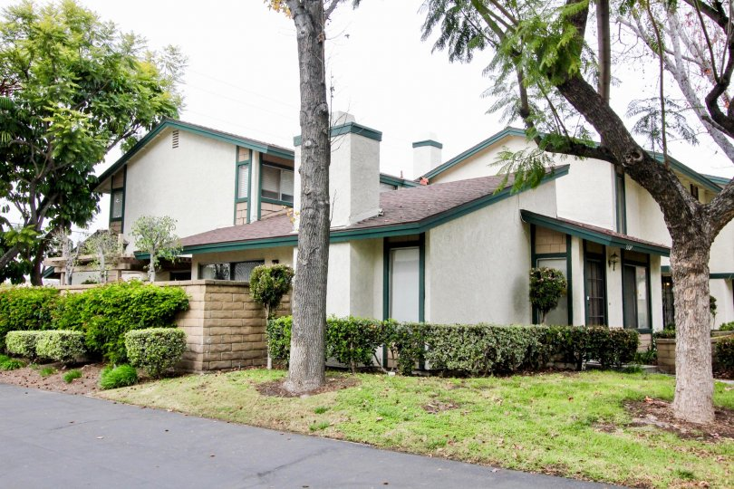 Excellent greenary near villas with trees in Highland Greens of Buena Park