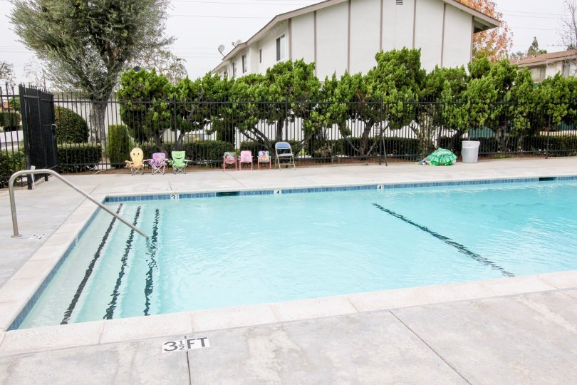THIS IMAGE SHOWS THE SWIMMING POOL WITH MARKS ON THE FLOOR, NEARBY PLANTS, TREES ARE THERE IN BUENA PARK