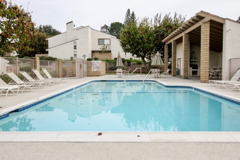 Fabulous Swimming pool and sitting place between villas in Los Coyotes Village of Buena Park