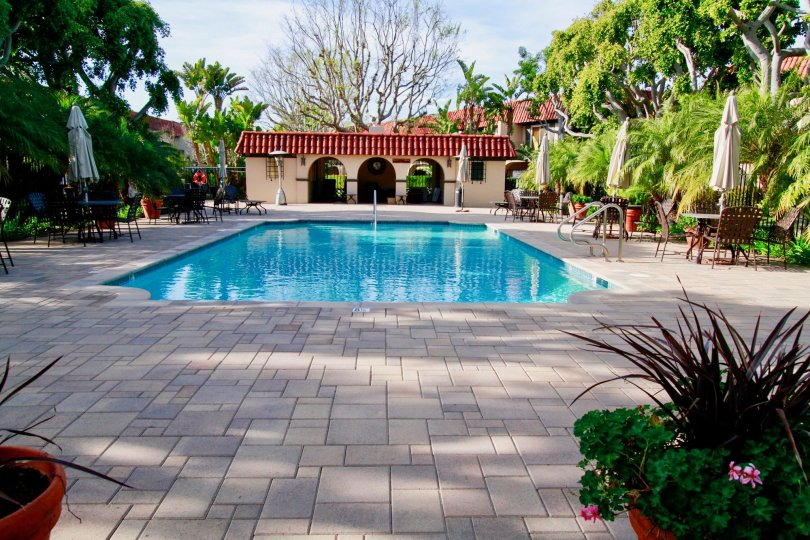 A beautiful day outdoors with a refreshing pool in Country Club Villas community.