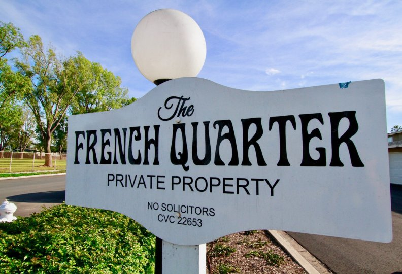 name board which indicate that these property is belong to a private person which is stand in french quaters of costa mesa california