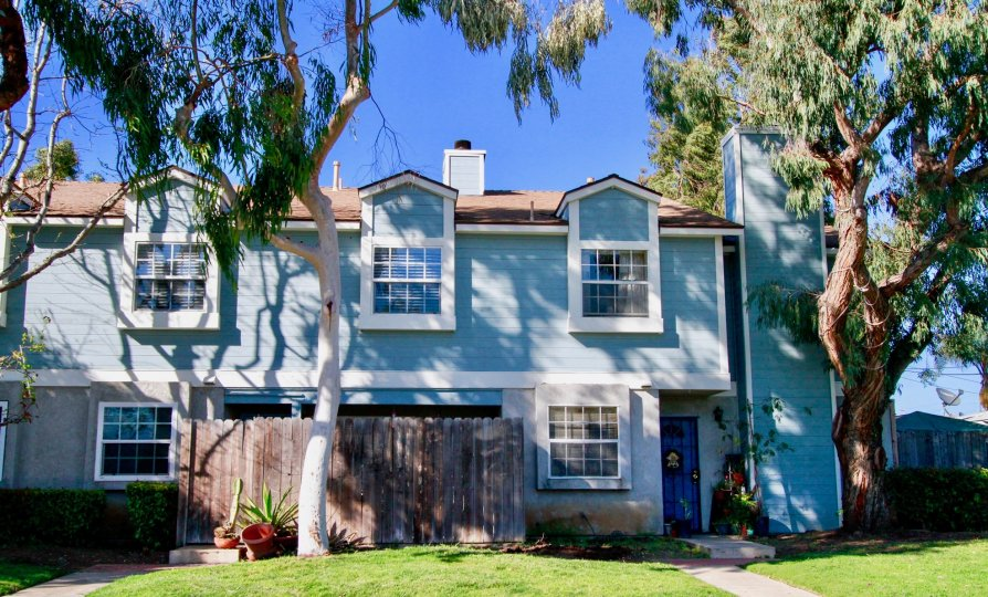 Genoa Cove Costa Mesa California attractive blue color wall with triangle window