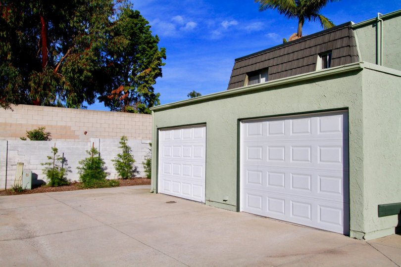 Double car garage in the community of Mesa verde Villas in Costa Mesa, California