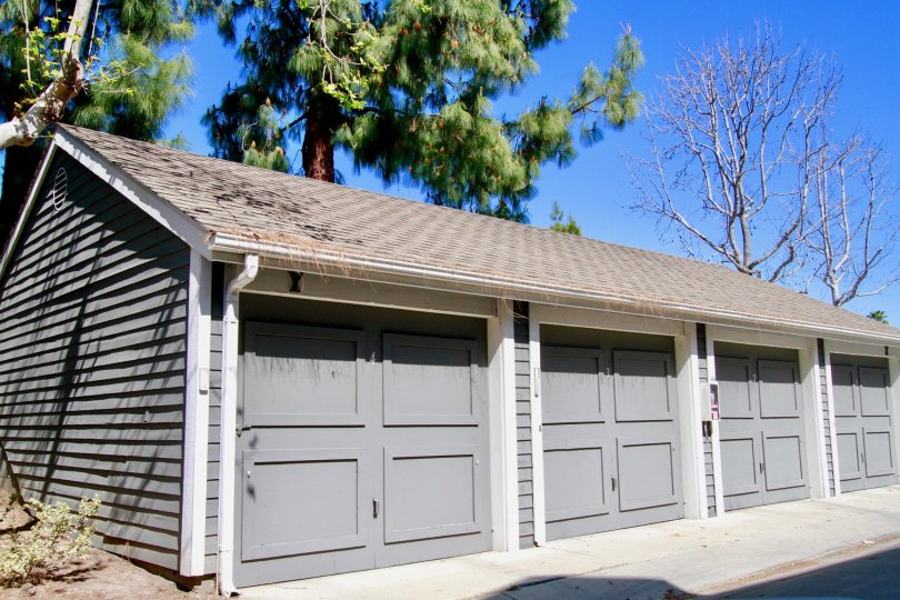Beautiful blue storage units within the community of Newport Landing in Costa Mesa, California