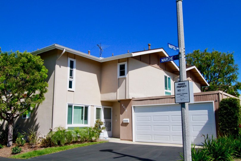 Pleasant, two story home, attached garage, nice street, Newport Riviera, Costa Mesa, California