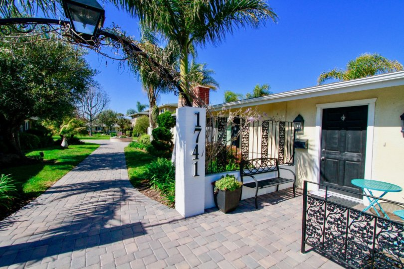 Walkway and gate of Orleans Townhouse community in Costa Mesa, CA