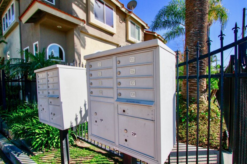 Palermo Townhomes mailboxes next to a fence and palm trees on a sunny day.