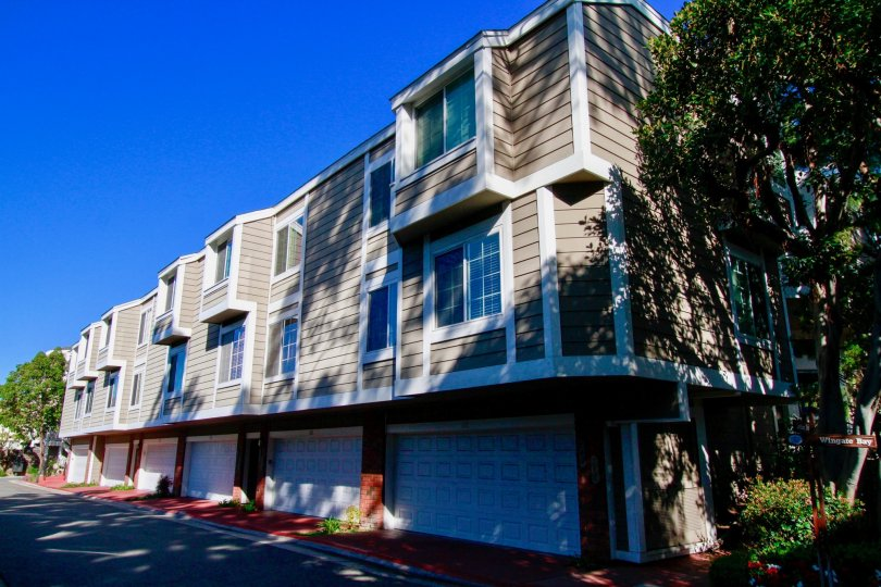 A beautiful blue day in community of Pentridge Cove II in Costa Mesa, California.
