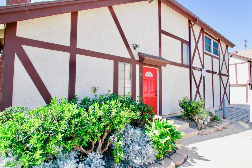 Picadilly Terrace Costa Mesa California cross lined wall design looks different with red door
