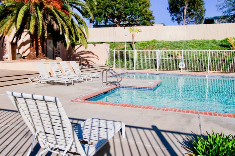 Fabulous swimming pool with chairs and trees around near villas in Westbluff Village of Costa Mesa