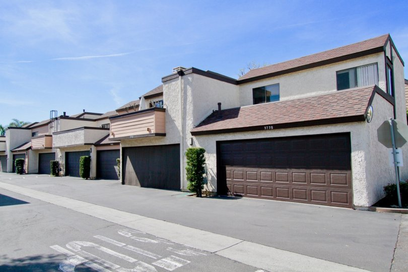 Bowers Condominiums Cypress California different shaped buildings arranged in a line