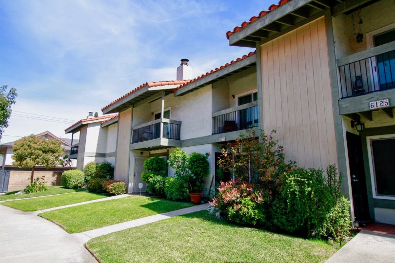 Green lawns at the Cypress College Townhomes in Cypress Califorina
