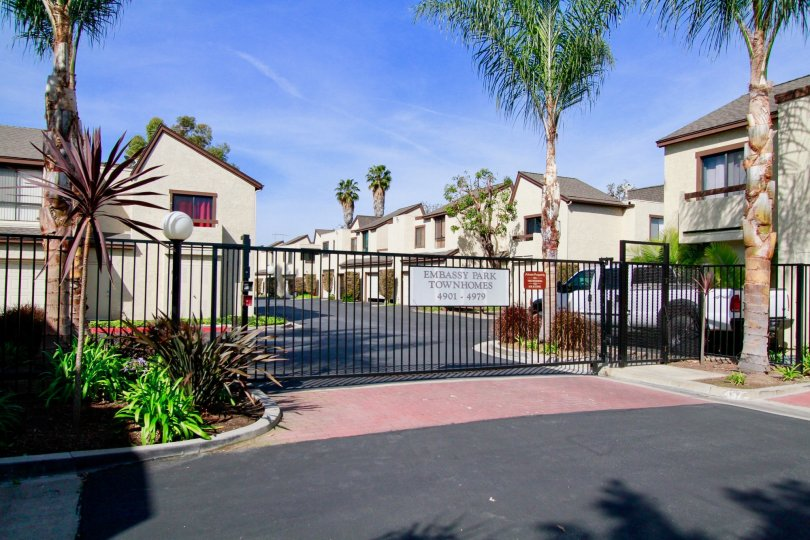 Fenced in townhomes surrounded by palmtrees in Ca.