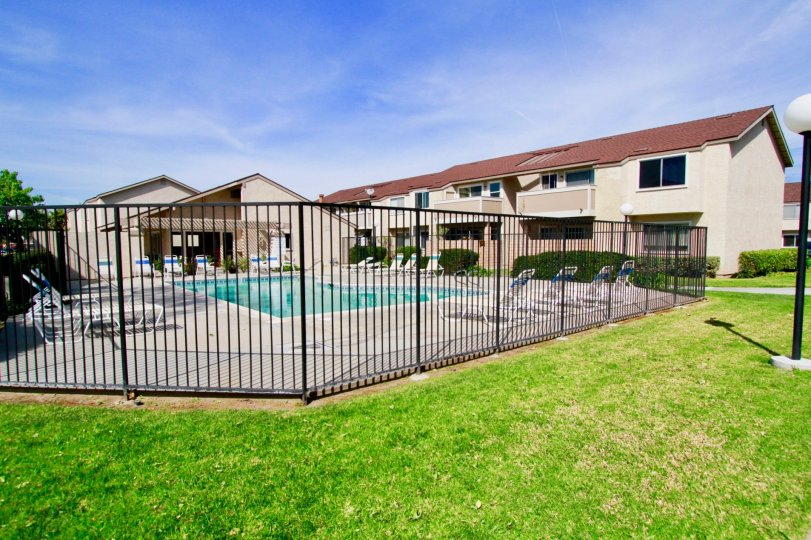 Pool area access in the Shady Glen community of Cypress, California