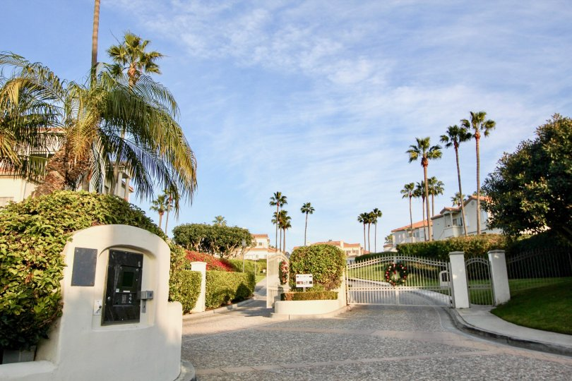 A great day in the Tennis Villas with in front of a gate.